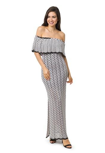 Produto Vestido Longo de Tricot Ombro a Ombro Listras e Lurex Feminino Preto/Bege
