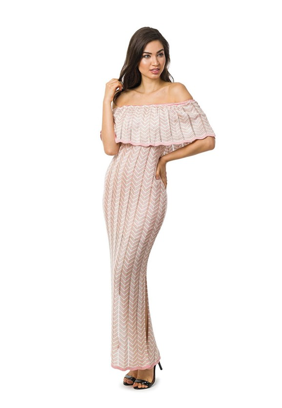 Vestido Longo de Tricot Ombro a Ombro Listras e Lurex Feminino Rosa Claro/Bege