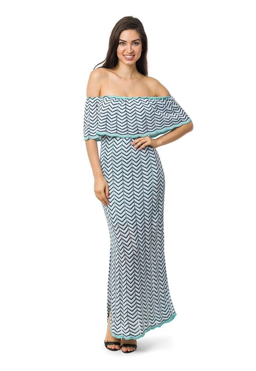 Vestido Longo de Tricot Ombro a Ombro Listras e Lurex Feminino Verde Claro/Azul Marinho