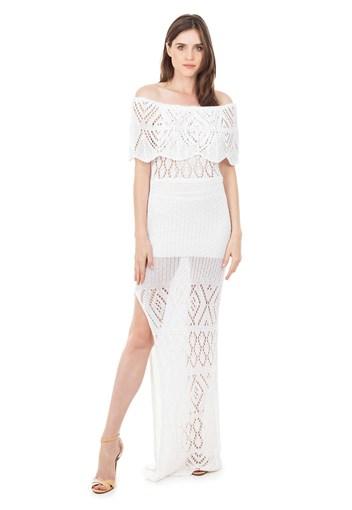 Produto Vestido Longo de Tricot Renda Ombro a Ombro Pala Feminino Branco