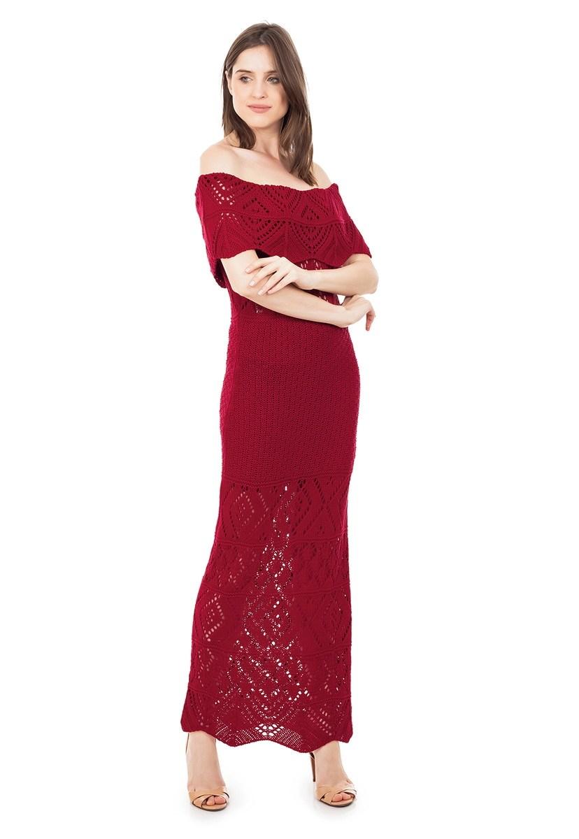 Vestido Longo de Tricot Renda Ombro a Ombro Pala Feminino Vermelho