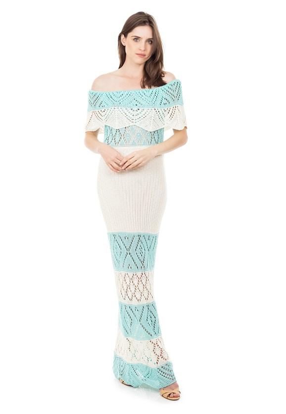 Vestido Longo de Tricot Renda Ombro a Ombro Pala Listrado Feminino Azul Claro com Off