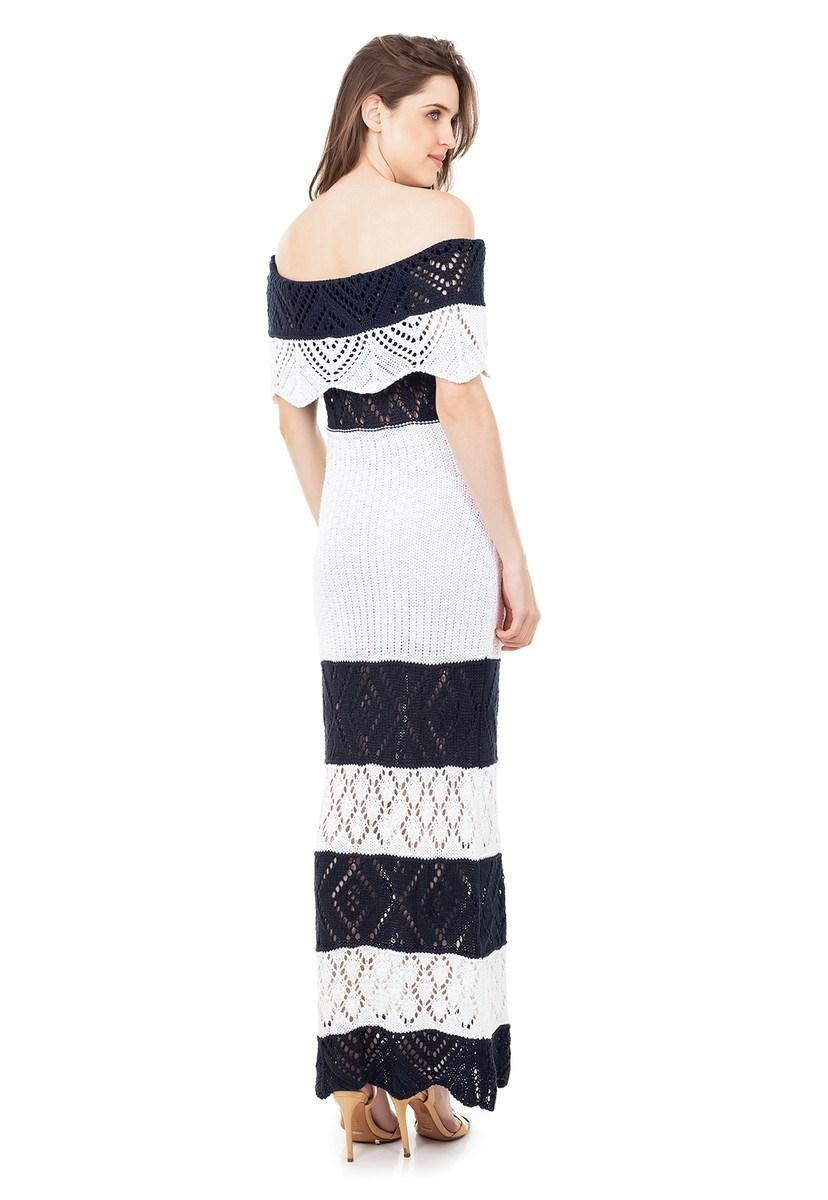 Vestido Longo de Tricot Renda Ombro a Ombro Pala Listrado Feminino Azul Marinho com Branco