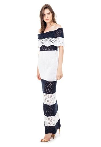 Produto Vestido Longo de Tricot Renda Ombro a Ombro Pala Listrado Feminino Azul Marinho com Branco