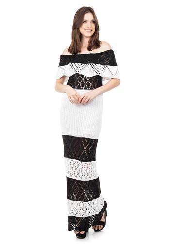 Produto Vestido Longo de Tricot Renda Ombro a Ombro Pala Listrado Feminino Preto com Branco