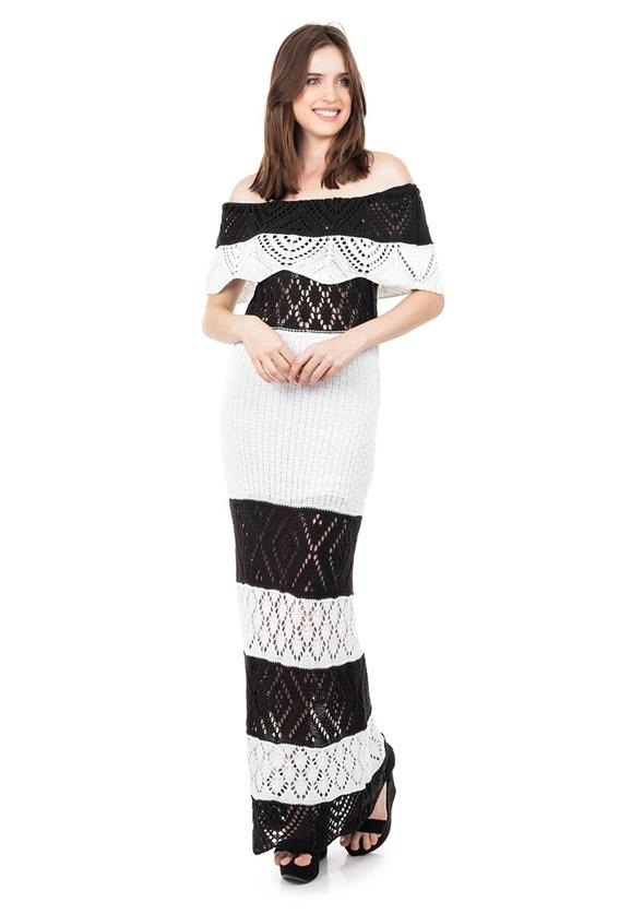 Vestido Longo de Tricot Renda Ombro a Ombro Pala Listrado Feminino Preto com Branco
