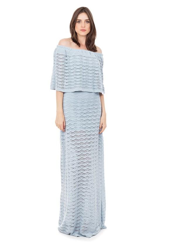 Vestido Longo de Tricot Renda Pala Ombro a Ombro Feminino Azul Claro
