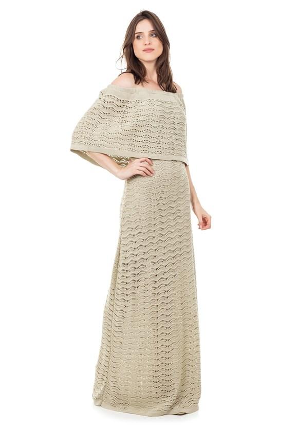 Vestido Longo de Tricot Renda Pala Ombro a Ombro Feminino Bege