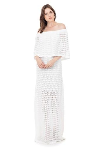 Produto Vestido Longo de Tricot Renda Pala Ombro a Ombro Feminino Branco