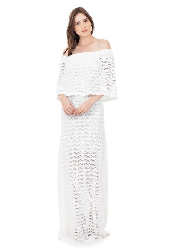 Vestido Longo de Tricot Renda Pala Ombro a Ombro Feminino Branco
