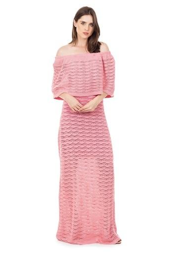 Produto Vestido Longo de Tricot Renda Pala Ombro a Ombro Feminino Rosa Claro