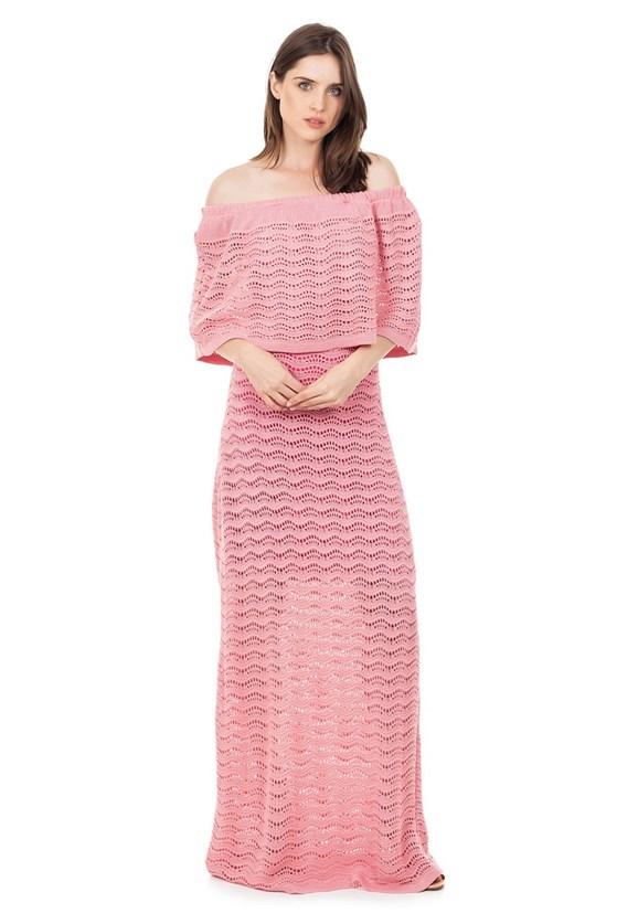 Vestido Longo de Tricot Renda Pala Ombro a Ombro Feminino Rosa Claro