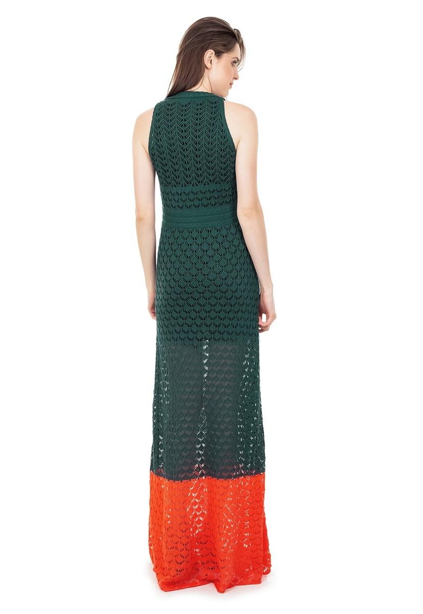 Vestido Longo de Tricot Renda Rodado com Listra na Barra Feminino Verde com Laranja