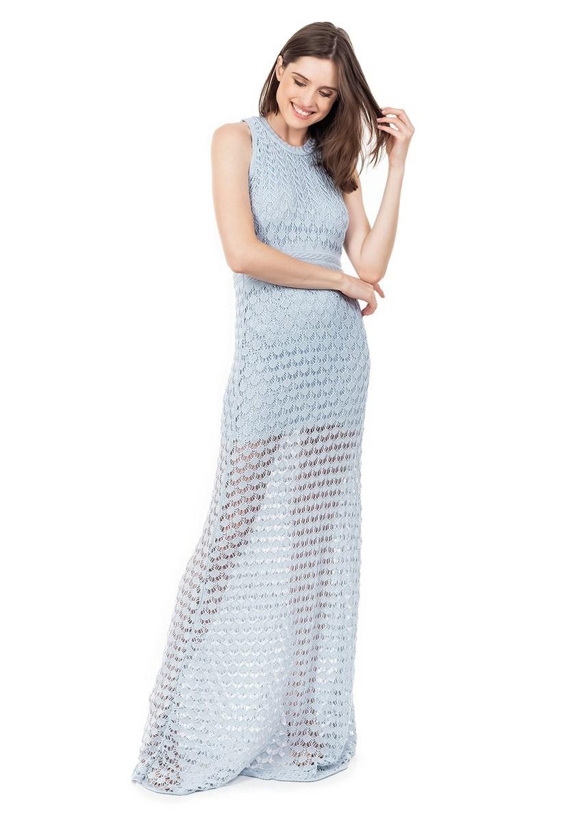 Vestido Longo de Tricot Renda Rodado Feminino Azul Claro