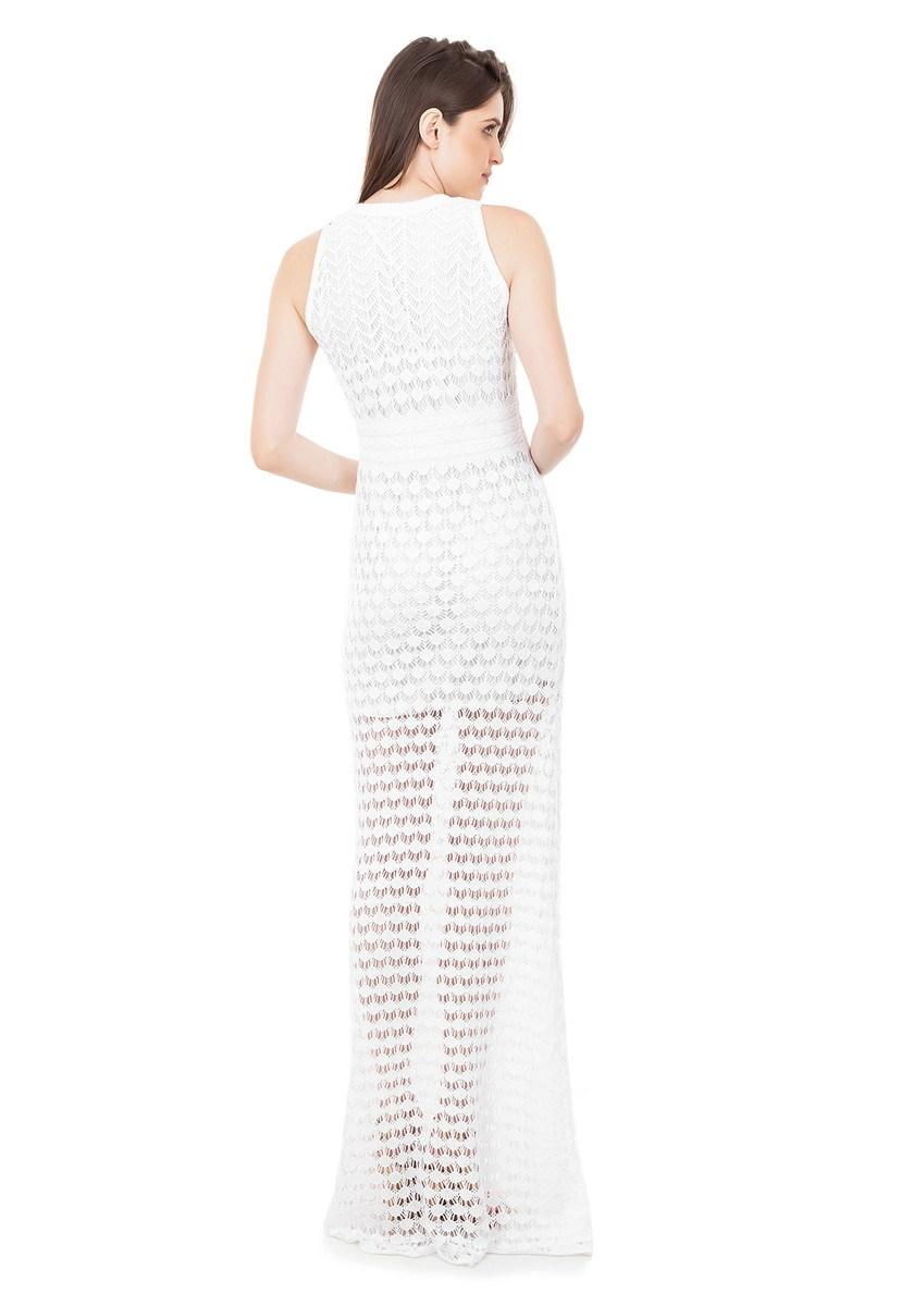 Vestido Longo de Tricot Renda Rodado Feminino Branco