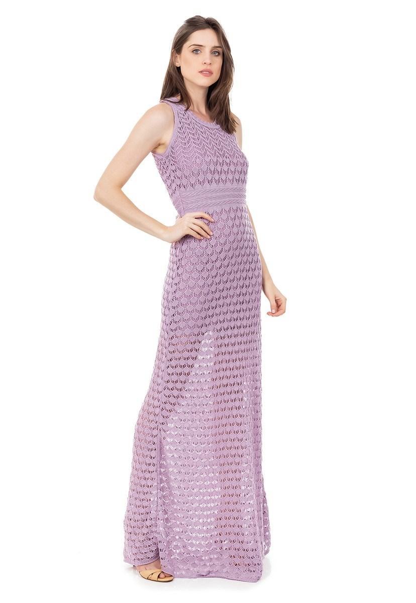Vestido Longo de Tricot Renda Rodado Feminino Lilás