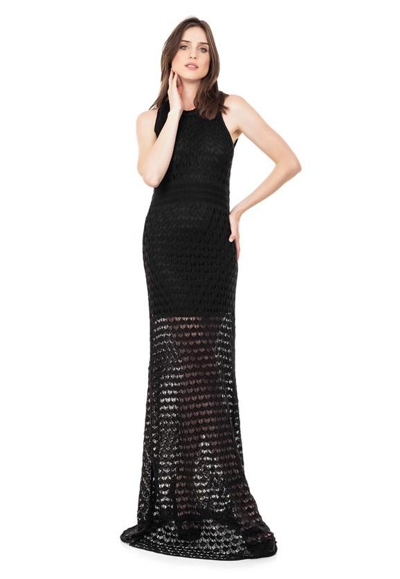 Vestido Longo de Tricot Renda Rodado Feminino Preto