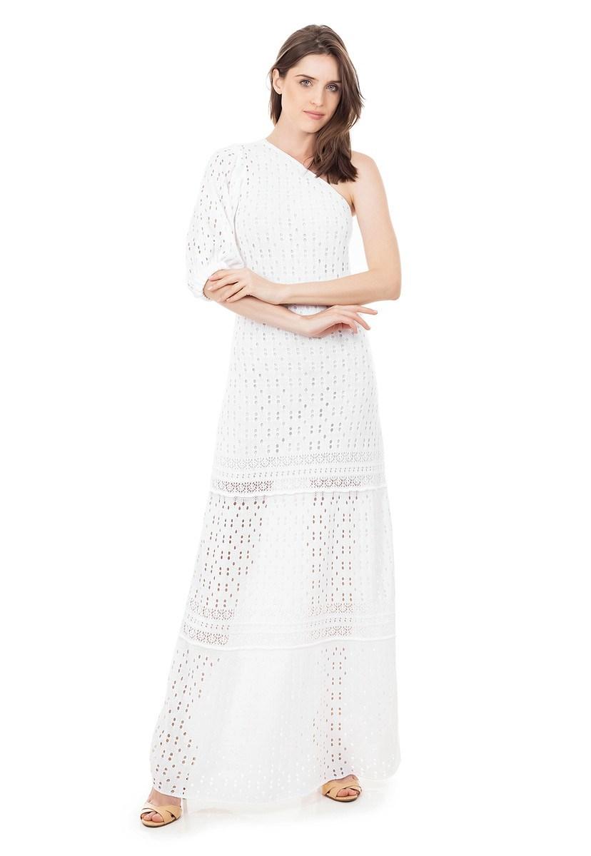 Vestido Longo de Tricot Renda Rodado Ombro Único e Manga Bufante Branco