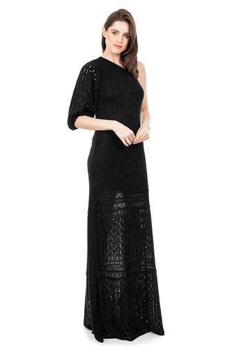 Produto Vestido Longo de Tricot Renda Rodado Ombro Único e Manga Bufante Preto