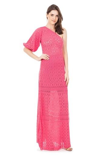 Produto Vestido Longo de Tricot Renda Rodado Ombro Único e Manga Bufante Rosa