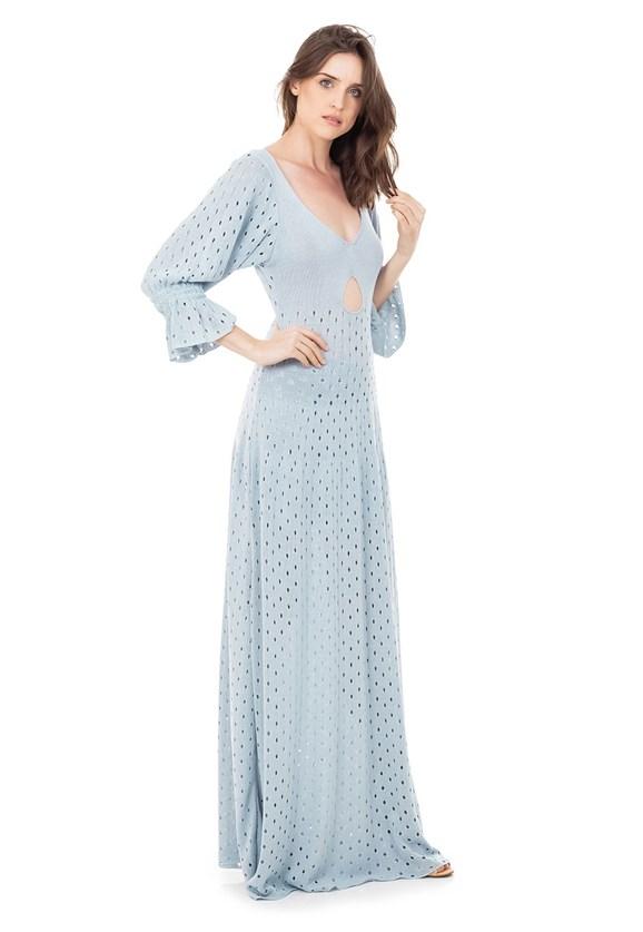 Vestido Longo de Tricot Rodado com Manga Bufante Feminino Azul Claro