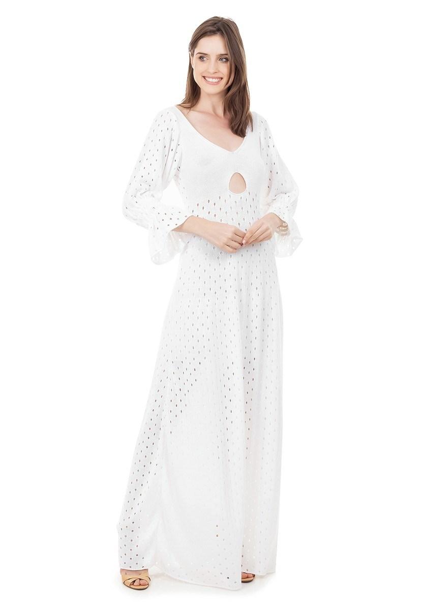 Vestido Longo de Tricot Rodado com Manga Bufante Feminino Branco