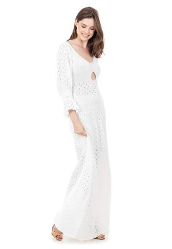 Produto Vestido Longo de Tricot Rodado com Manga Bufante Feminino Branco