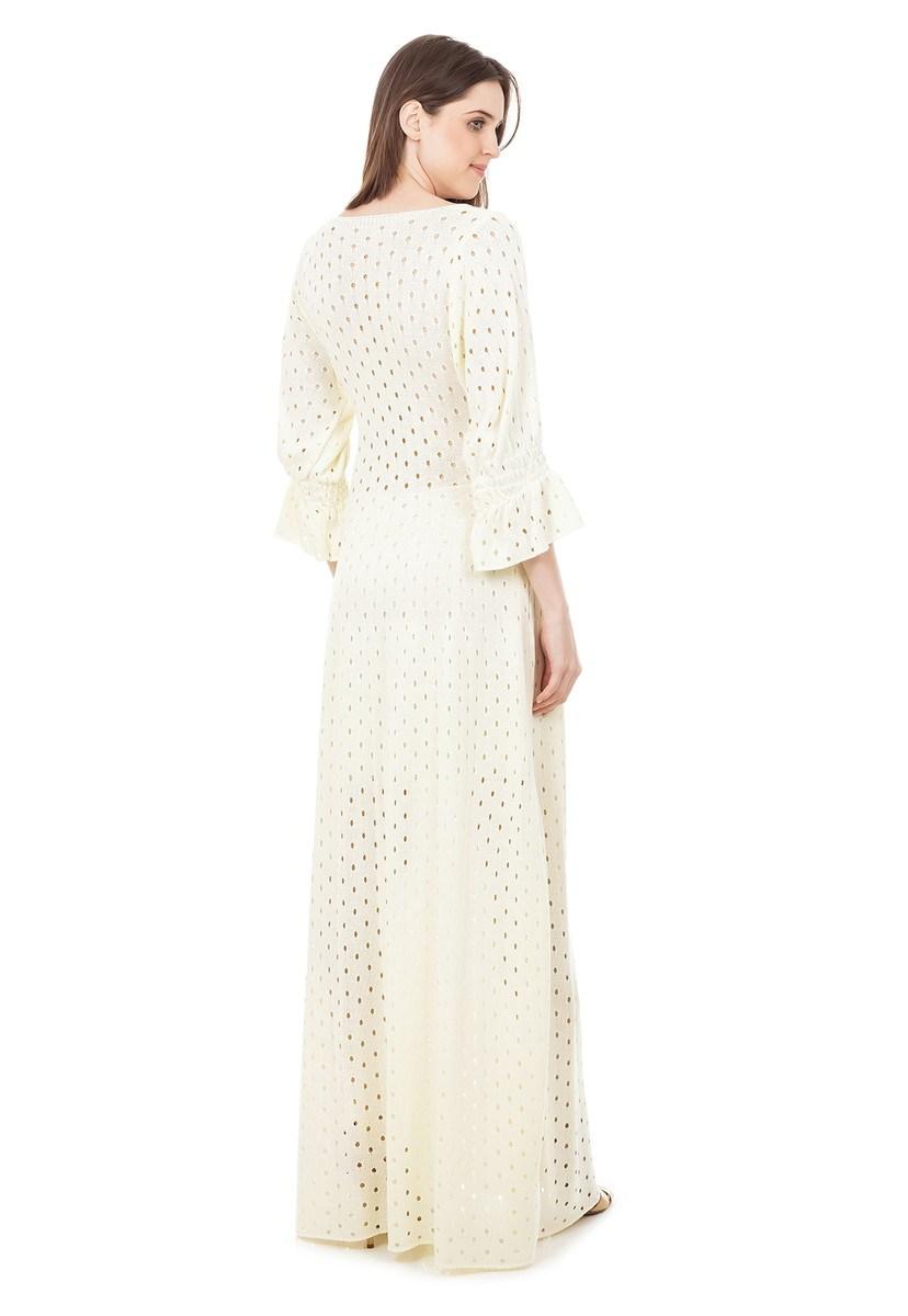 Vestido Longo de Tricot Rodado com Manga Bufante Feminino Off White