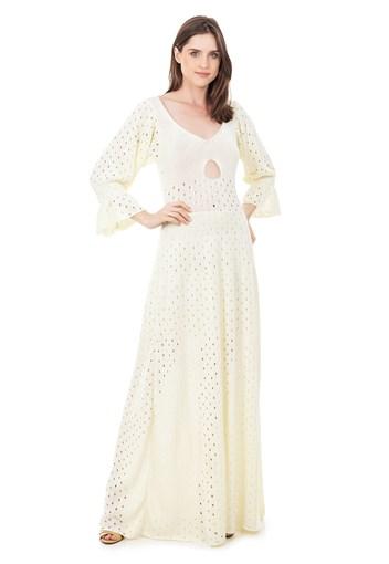 Produto Vestido Longo de Tricot Rodado com Manga Bufante Feminino Off White