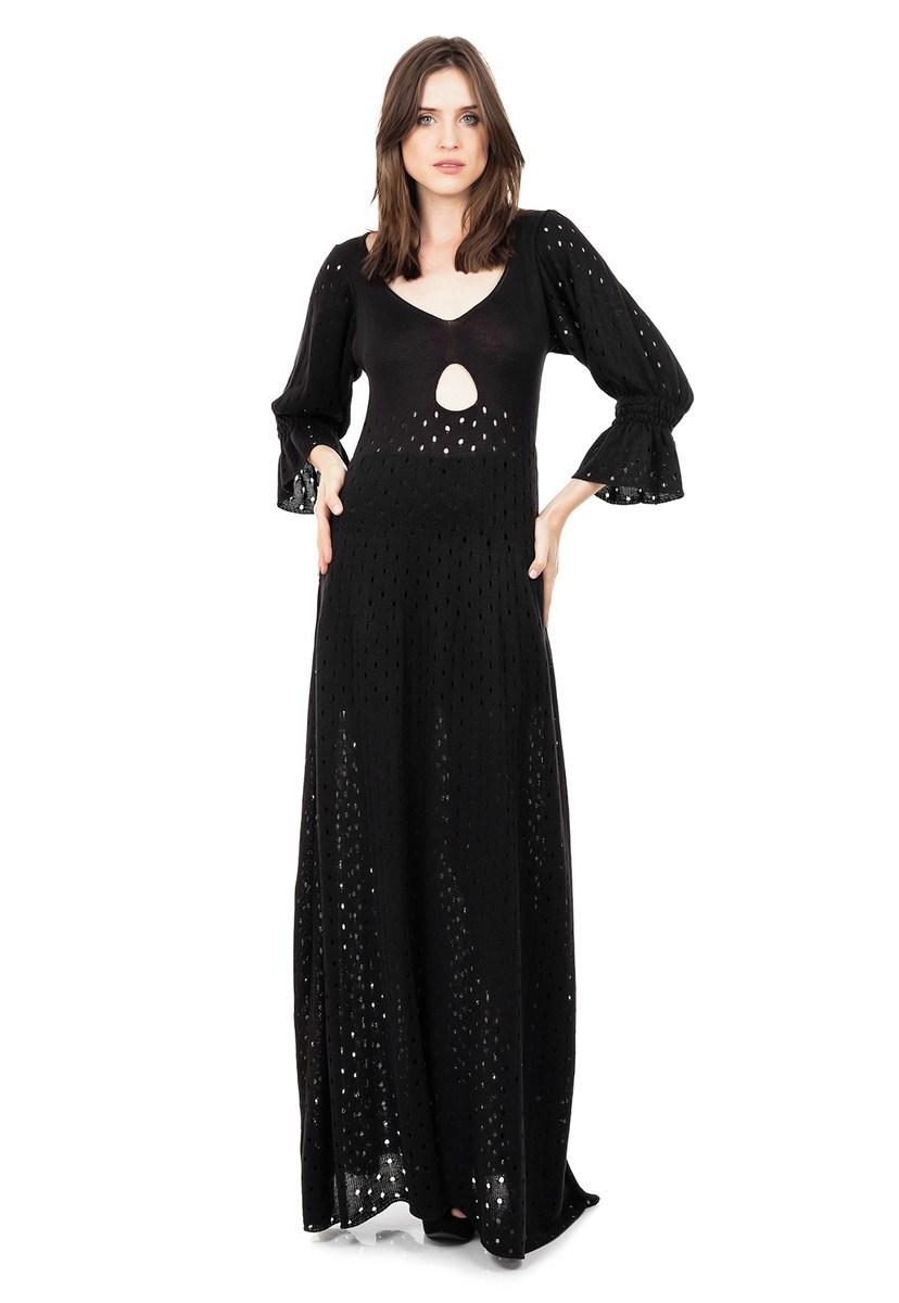 Vestido Longo de Tricot Rodado com Manga Bufante Feminino Preto