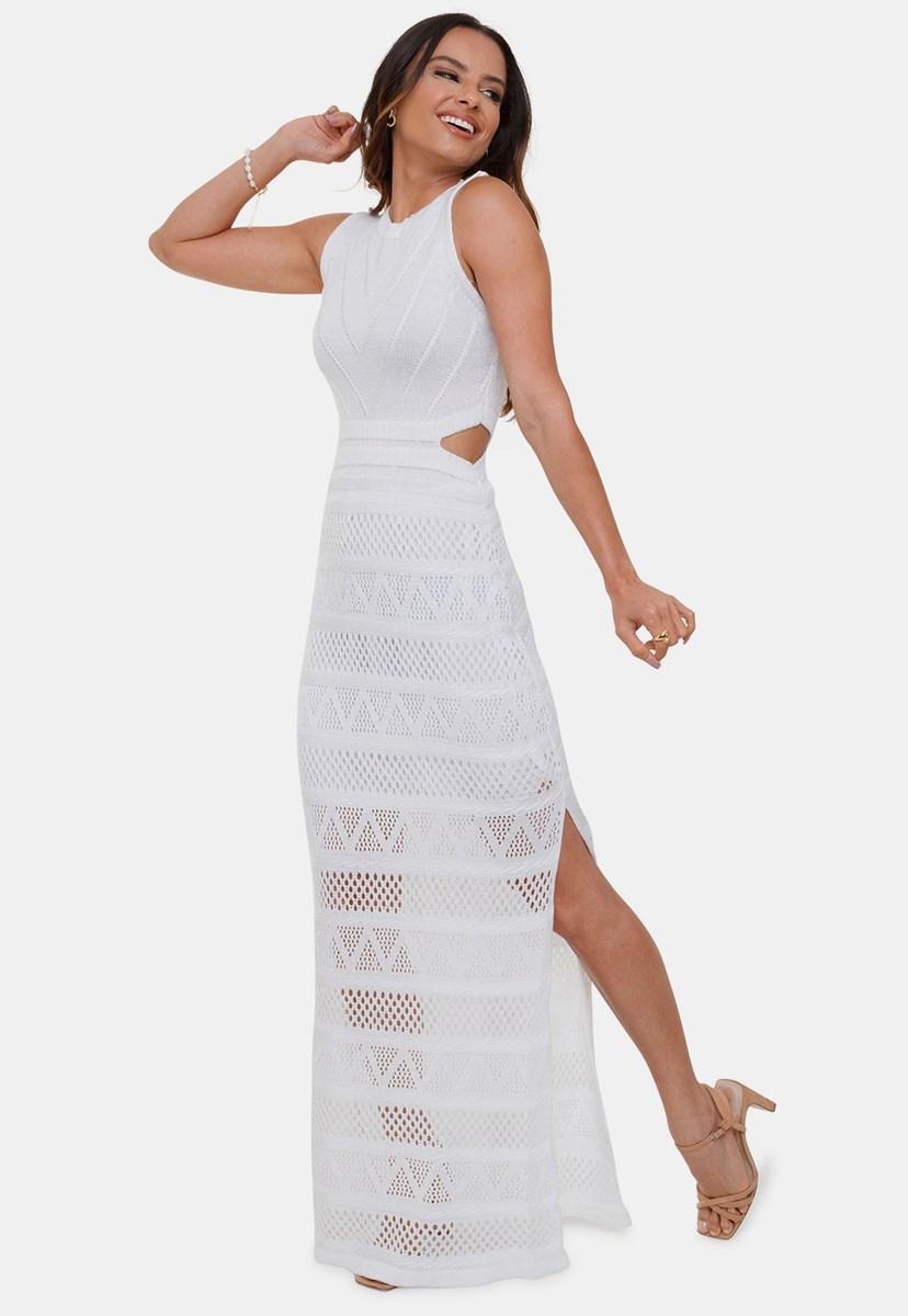 Vestido Longo Pink Tricot Nina Regata de Tricô Renda Com Decote na Cintura Feminino Branco