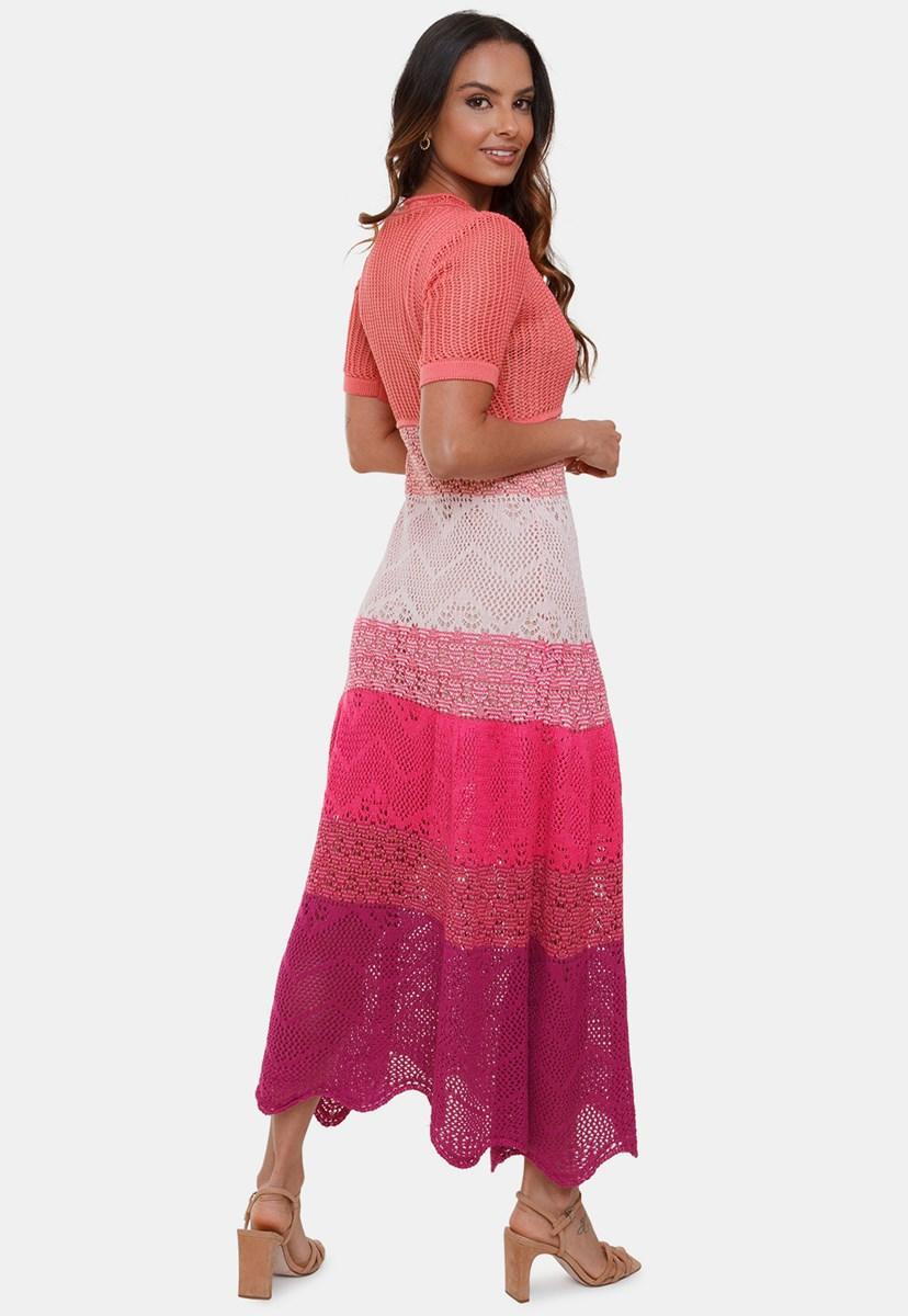 Vestido Longo Pink Tricot Rendado Multicolor Anne de Tricô 4 Cores Manga Curta Feminino Rosê/Violeta