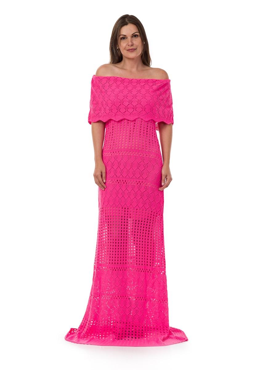 Vestido Longo Pink Tricot(Tricô) Ombro a Ombro Feminino Rosa