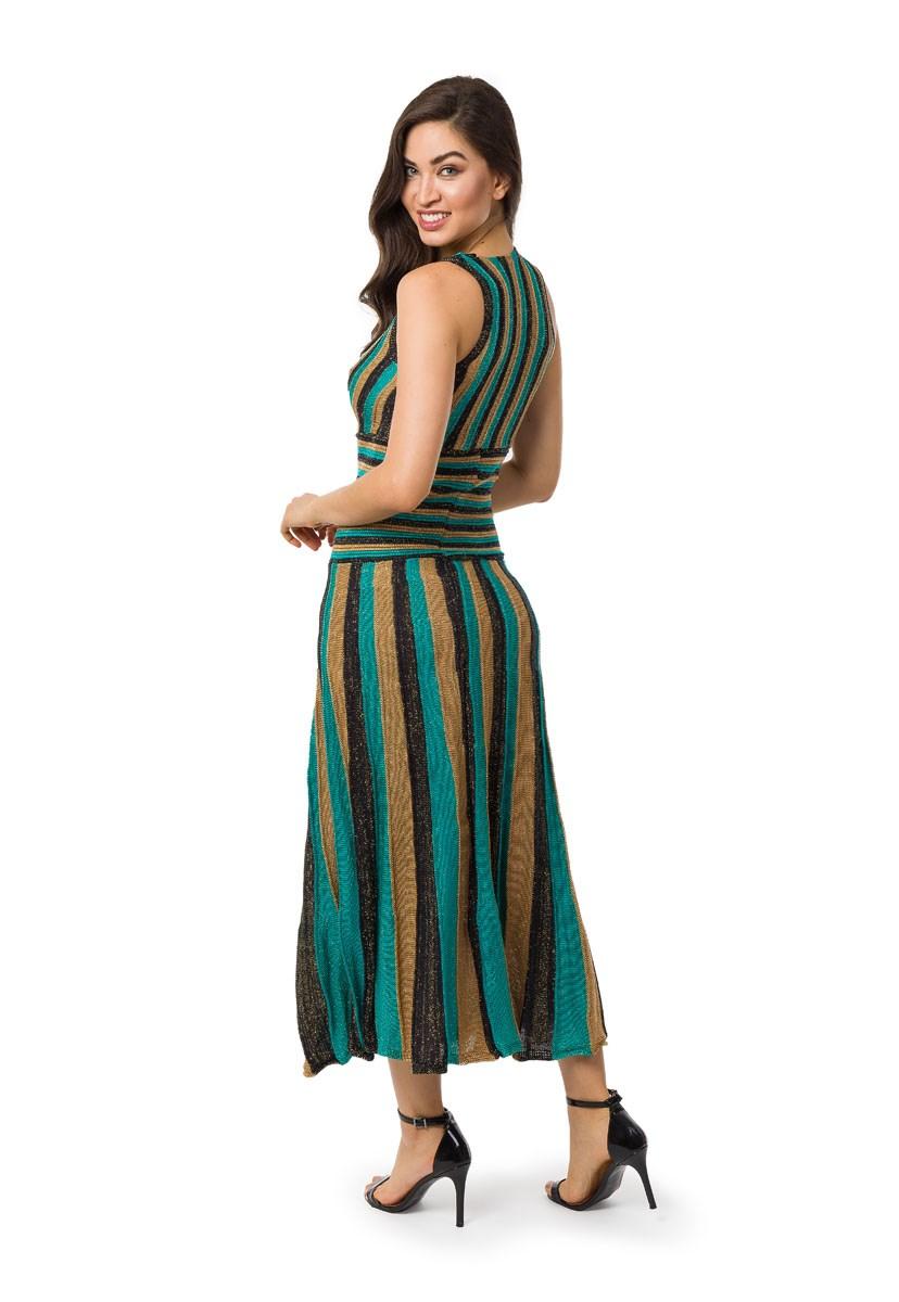 Vestido Longo Pink Tricot (Tricô) Plissado Listrado Feminino Verde
