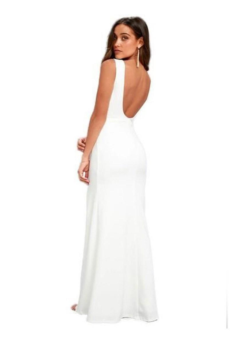 Vestido Longo Regata com Fenda e Decote nas Costas Branco