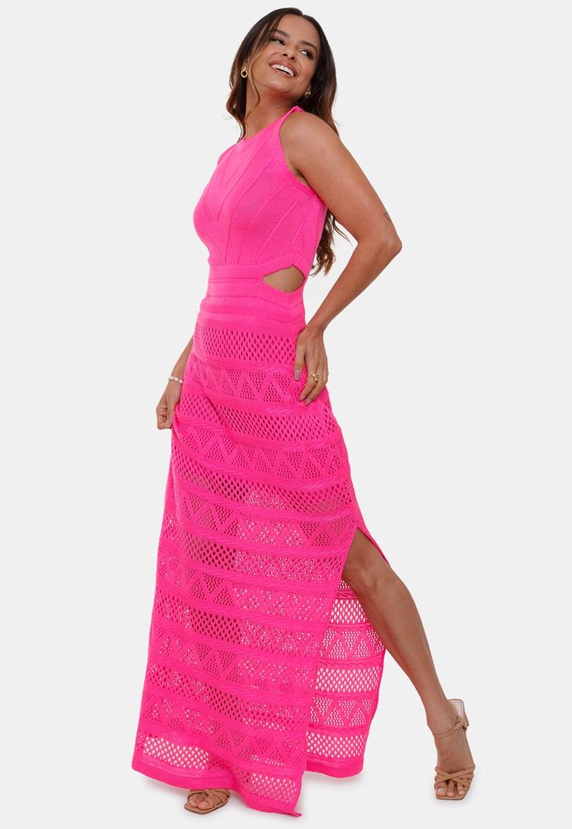 Vestido Longo Regata Pink Tricot Nina de Tricô Rendado Com Decote na Cintura Feminino Pink