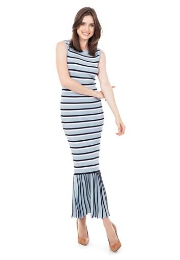 Produto Vestido longo Tricot Canelado Listrado Babado na Barra Azul Claro/Marinho