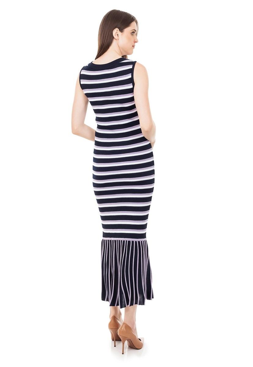 Vestido longo Tricot Canelado Listrado Babado na Barra Marinho/Lilás