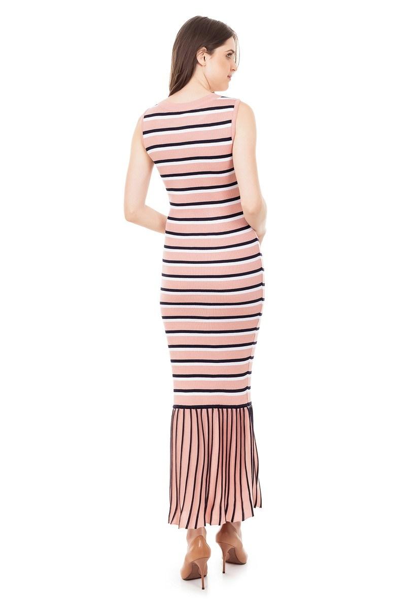 Vestido longo Tricot Canelado Listrado Babado na Barra Rosa Claro/Marinho