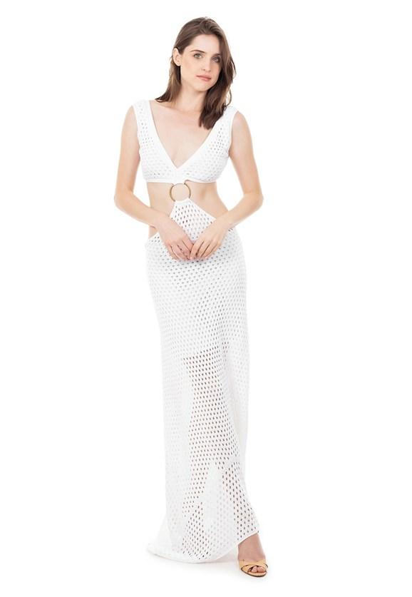 Vestido Longo Tricot com Detalhe em Argola e Decote na Cintura Branco