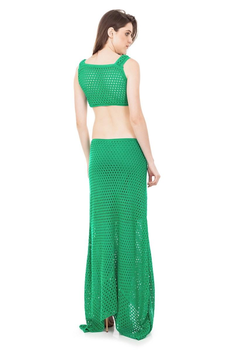 Vestido Longo Tricot com Detalhe em Argola e Decote na Cintura Verde