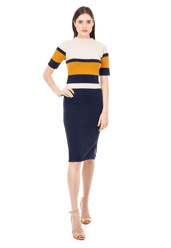Vestido Midi de Tricot Modal Listras Fenda e Manga Curta Feminino Azul Marinho/Bege/Mostarda