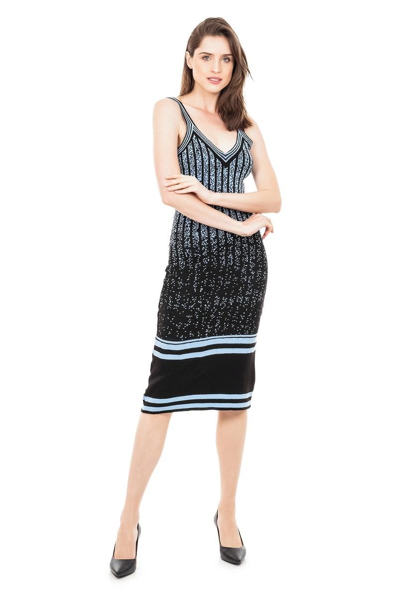 Vestido Midi de Tricot Modal Mesclas e Listras Feminino Preto/Azul Claro