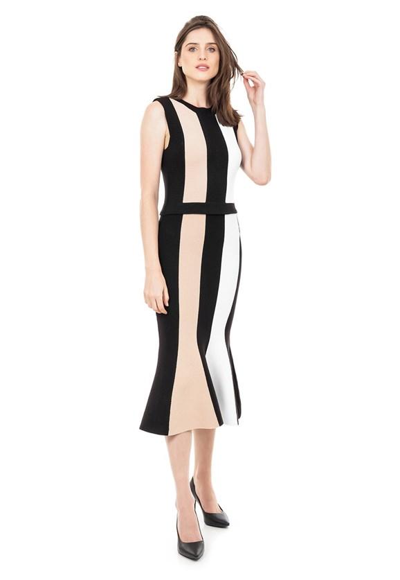 Vestido Midi de Tricot Tricô Modal Listrado Feminino Preto