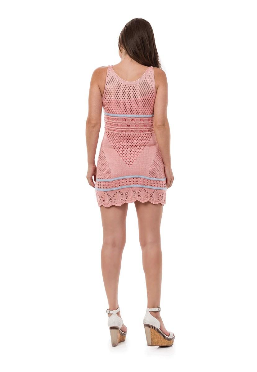 Vestido Pink Tricot Curto Listras Feminino