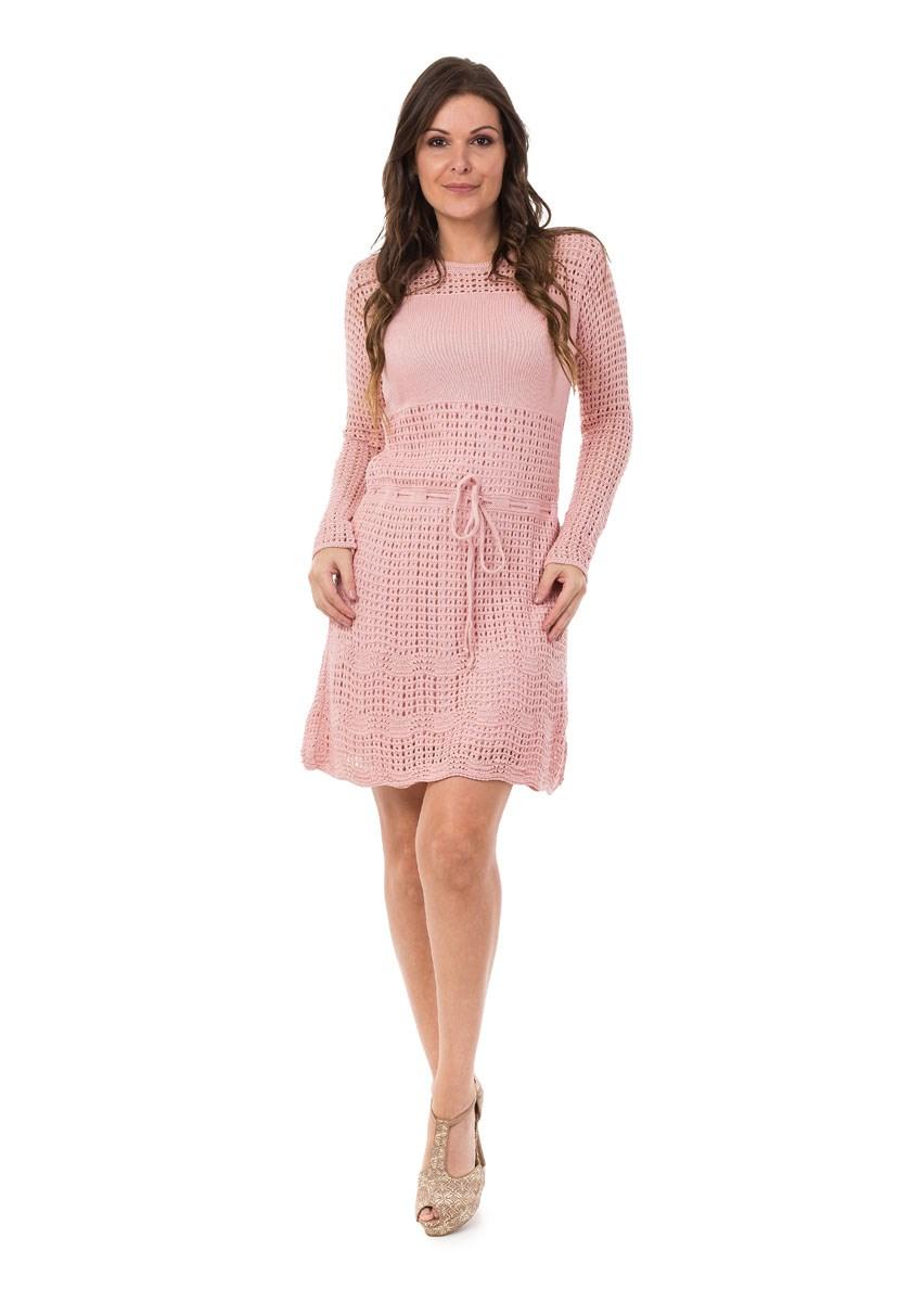 Vestido Pink Tricot Curto Manga Longa Cordão Feminino
