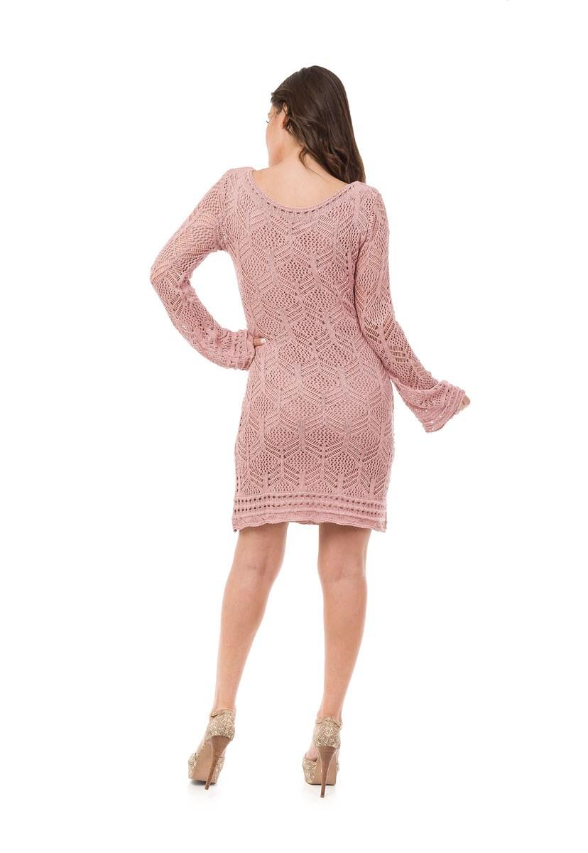 Vestido Pink Tricot Curto Manga Longa Renda Feminino