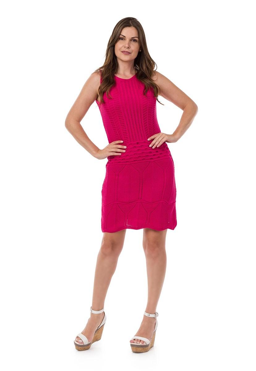 Vestido Pink Tricot Curto Regata Rendado Feminino