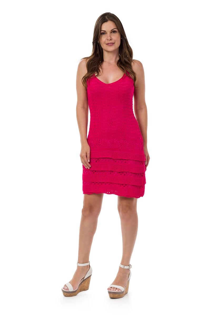 Vestido Pink Tricot Curto Renda Babados Feminino