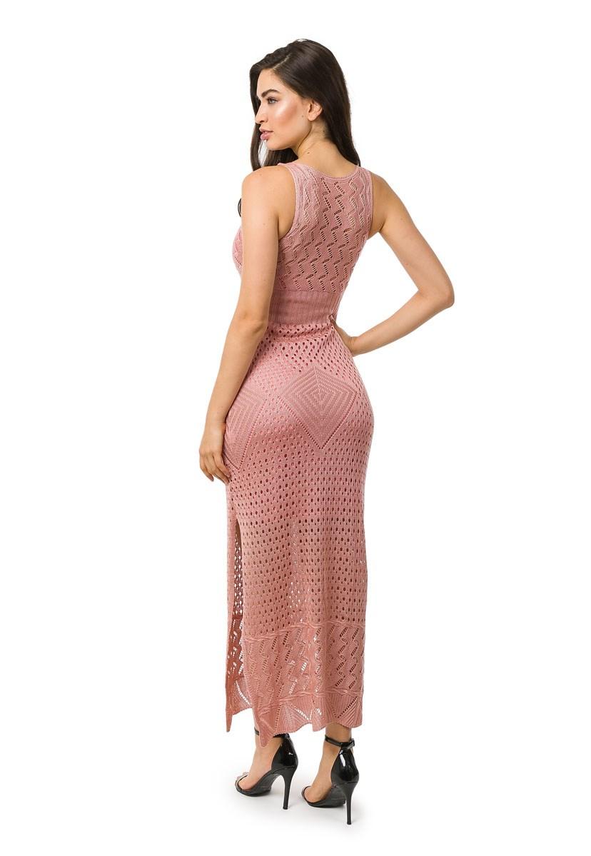 Vestido Pink Tricot Longo Com Fendas Feminino